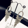 Luxurious Exaggerated Pure Handmade Crystal Beads Long Tassel Earrings Fashion Women Jewelry Big Long Statement Earrings