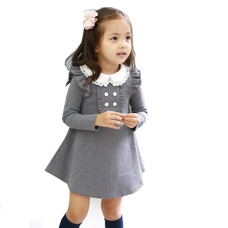 2018 Новое поступление, весенне осенняя хлопковая одежда в Корейском стиле для девочек повседневное мини платье трапециевидной формы с длинными рукавами и кукольным воротником для девочек Одежда для детей