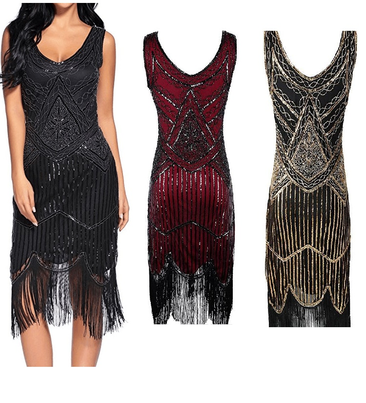 Sexy Sleeveless Royal Black Embroidery Fringe Great Gatsby Party Dress Women 1920s Dress Sequin Beaded Tassels Hem Flapper Dress