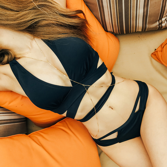 Sexy Bandage Bikinis Push Up Swimwear Women Swimsuit Brazilian Bikini Set 2019 Summer Solid Bathing Suit Cut Out Black Suit