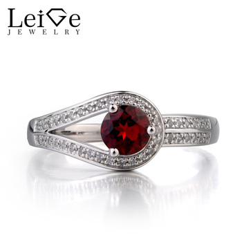 Leige Jewelry Genuine Natural Garnet Ring Promise Ring January Birthstone Round Cut Red Gemstone 925 Sterling Silver Ring Gifts