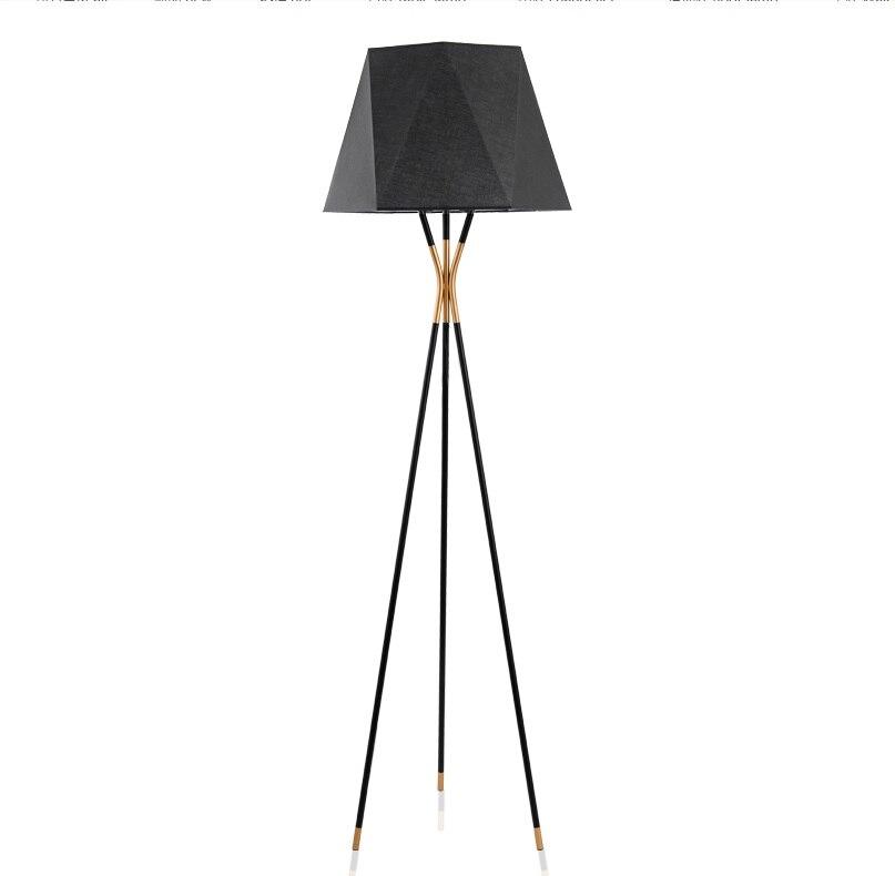 Slim Metal Tripod Floor Lamp / Black and Golden