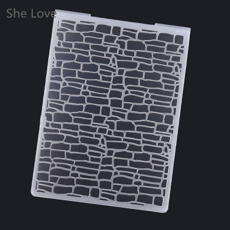 She Love Plastic Embossing Folder For Scrapbooking Irregular Bricks Type Photo Album Card Paper Craft Template plastic embossing foldet flower diy scrapbooking photo album card paper craft decoration template