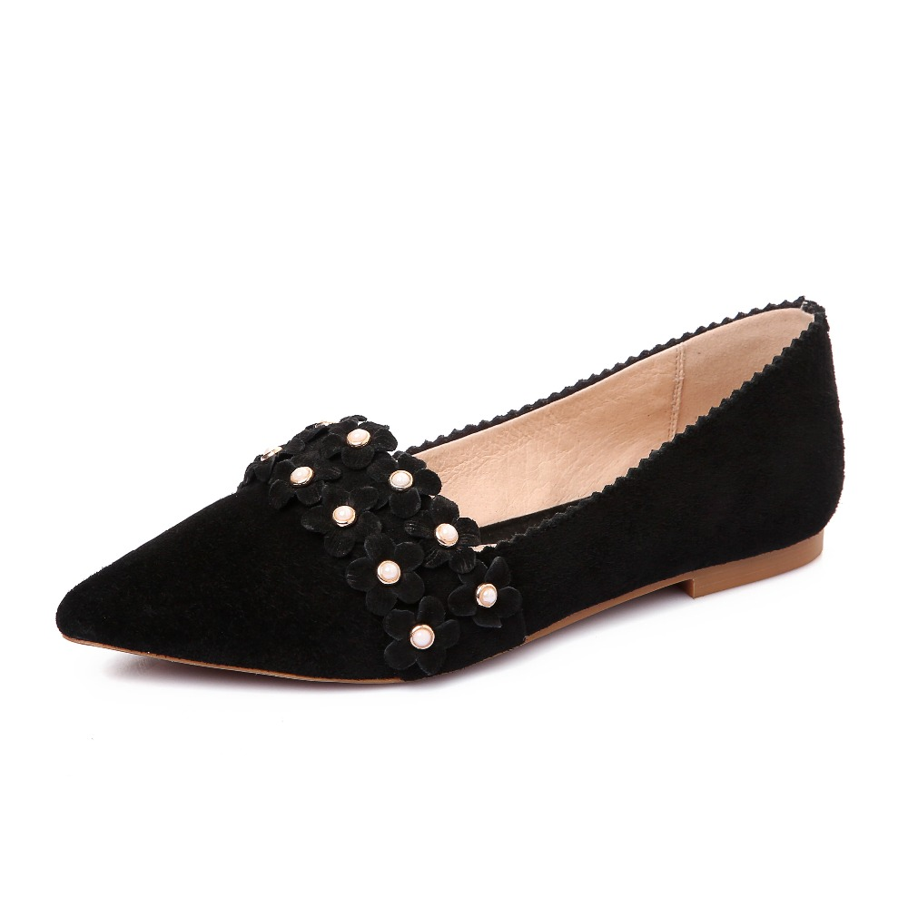 High quality Genuine leather women shoes fashion flowers Flats Pointed Toe Slip-On Boat Shoes comfort spring autumn Lazy shoes new hot spring summer high quality fashion trend simple classic solid pleated flats casual pointed toe women office boat shoes
