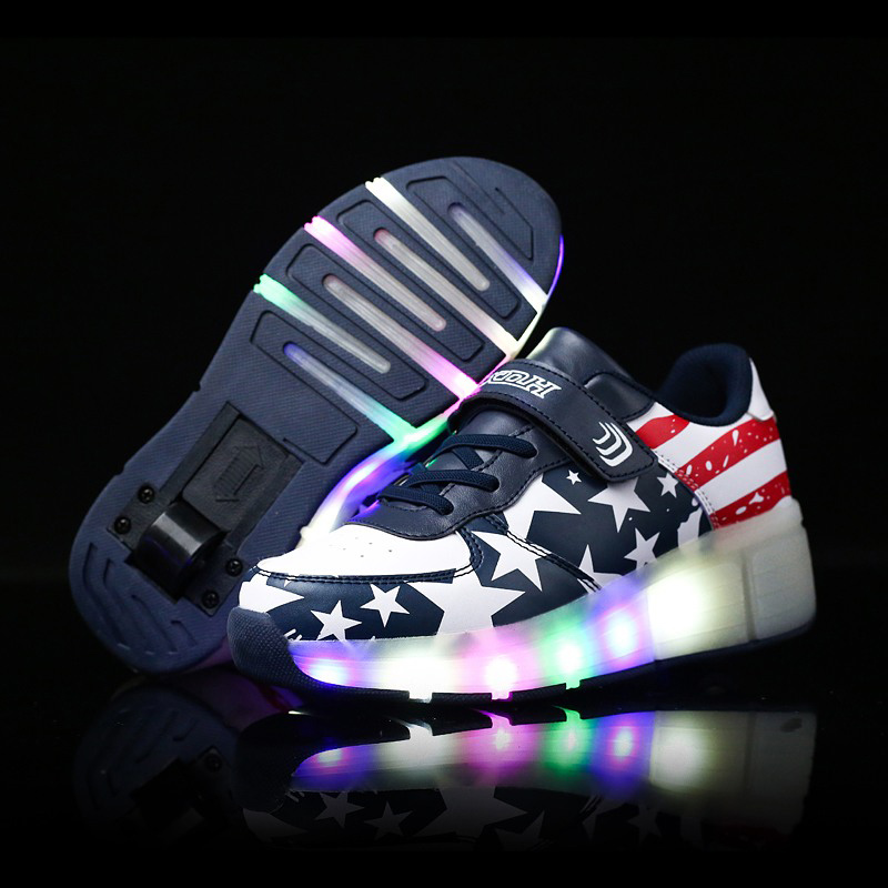 BABAYA Flag Stars Print Children Light Shoes with Wheels Leather Boys Girls Luminous Sneakers Kids Glowing Shoes 41 kids shoes boys led lights sneakers with wheels single wheel glowing children shoes