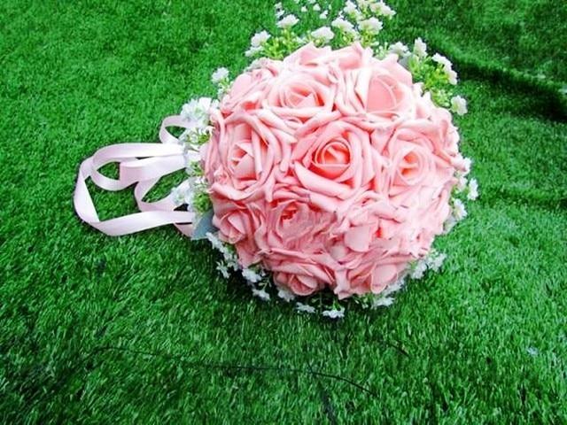 2016 Hermosa boda bonquts Artificial Decorativo Flores Color de Rosa Detalles de Encaje de Perlas Nupcial de La Novia Ramos de Novia con La Cinta