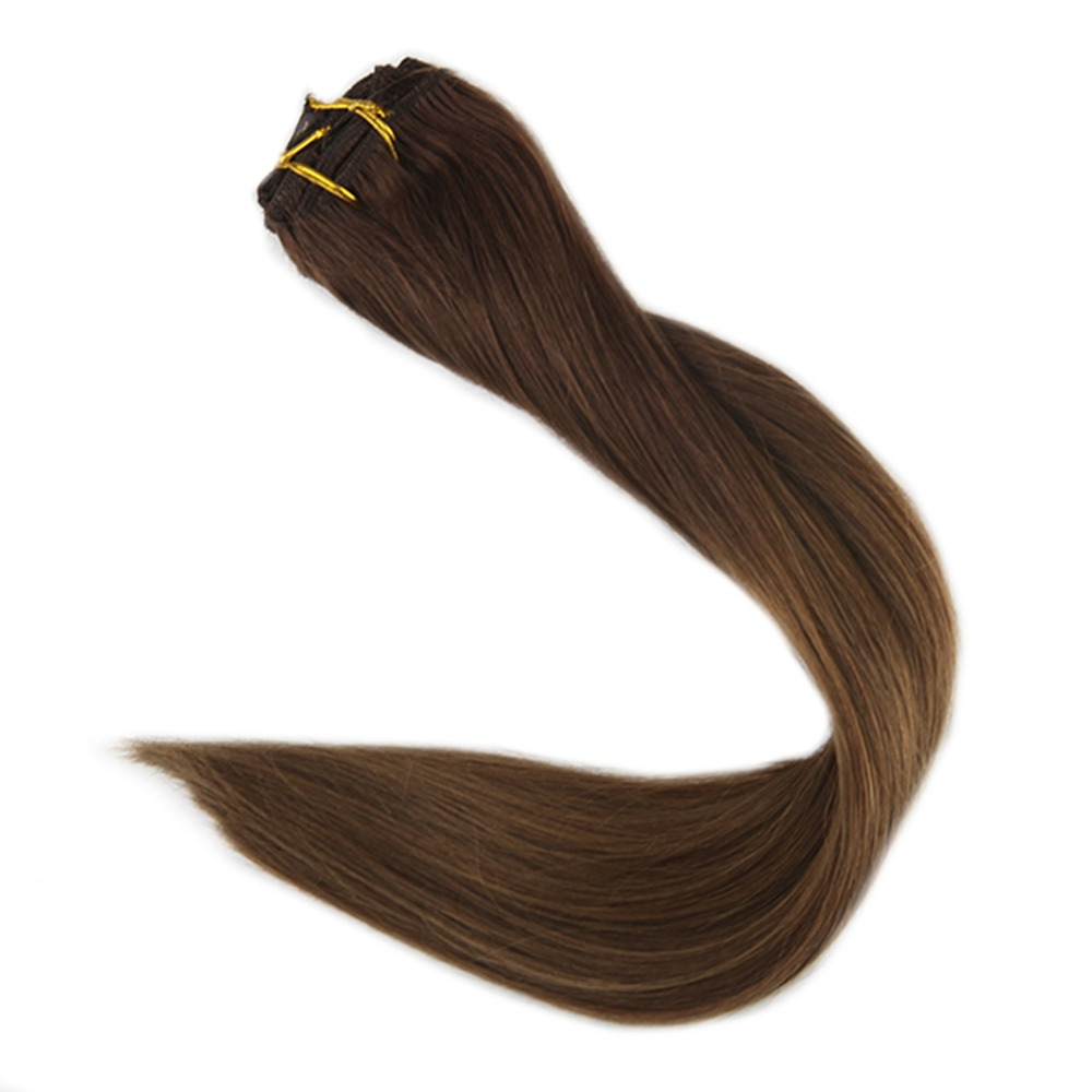 Full Shine Full Head Remy Clip In Extensions Human Hair Color #3 Fading To #6 7Pcs 100g Brown Ombre Hair Extensions Clip In Hair