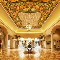 Free Shipping HD Wallpaper 3D Rice Red Stone European Style Ceiling European Carpet Floor Painting Mural