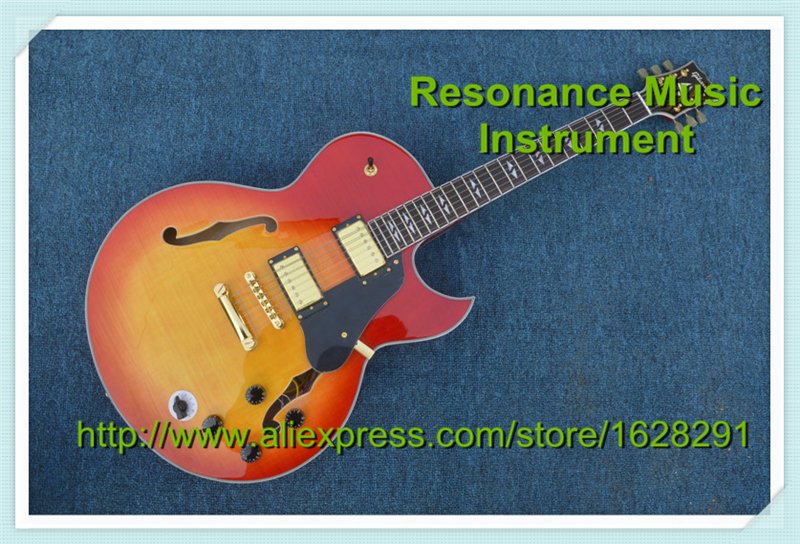 Latest Finished Best Price Electric Jazz Guitar Hollow Body Cherry Sunburst CS Color In Stock high quality musical instrument cherry sunburst classical hollow guitar body es jazz guitars china lefty available