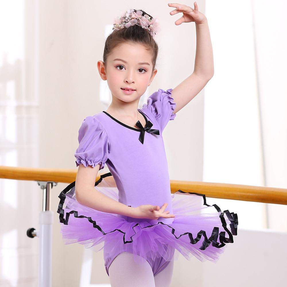 Ballet Dance Dress Kids Pink Girls Ballet Dress for Children Ballet Tutu Costumes for Girls Short Sleeve Dance Leotard Dancewear