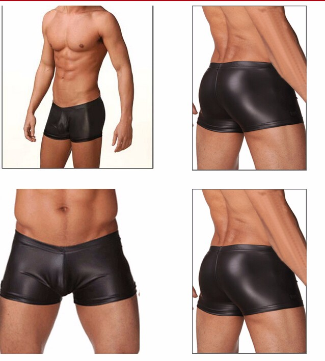 Topdudes.com - Men's Black Smooth Imitation Leather Sexy Underpants