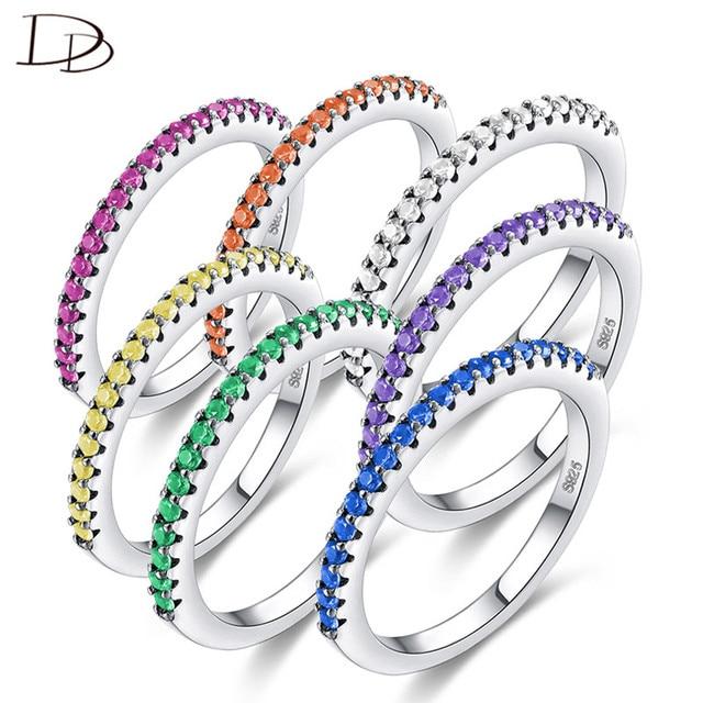 DODO Kpop 2mm Arcobaleno Anelli di Pietra Per Le Donne Cool Fashion Colorful AAA