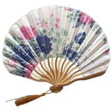 Узор китайский стиль ручные вентиляторы Шелковый бамбуковый Складной вентилятор ручной свадебный ручной вентилятор классный бамбуковый цветок персонализированный 19feb19