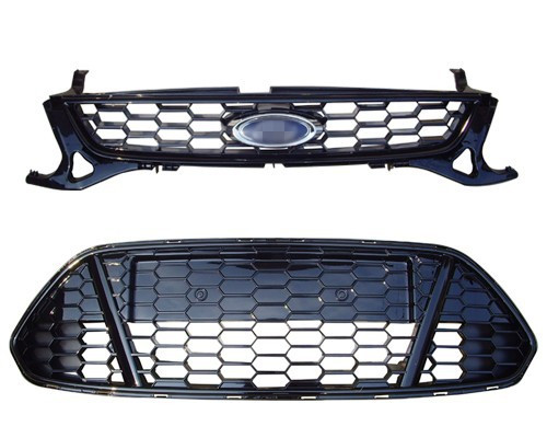 1Set Front Bumper Upper and Lower Honeycomb Mesh Grille Grill for Ford Fusion Mondeo 2011 2012