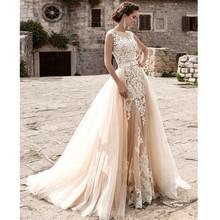 New Design Wedding Dress Tulle Sheath Short Sleeve Sheer Back Detachable Train Vestido De Novia Fast