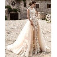 robe de mariee lace Wedding Dress Detachable skirt Vestido De Novia Fast Shipping appliques Bridal Gown 2018 Mother dresses