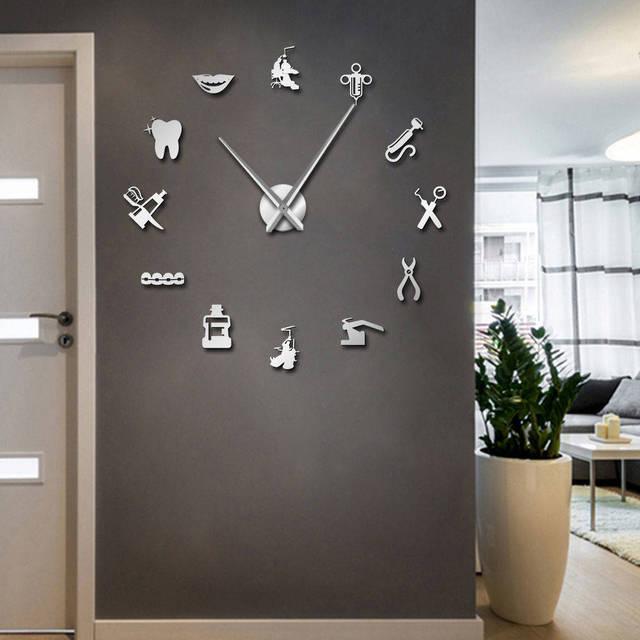 Dentist Tools Frameless 3D Wall Clock Dental Practitioners Clinic Stomatological Hospital Orthodontics Room Art Decor Clock