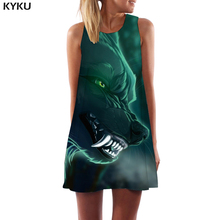 KYKU Brand Wolf Dress Women Animal Korean Style Green Office Harajuku Party Gothic Short Womens Clothing Vintage Ladies Cool