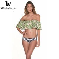 Women Swimsuit Triangle Bikini Sets 2018 Sexy Leaf Print Bandage Brazilian Bikini Set Striped Beach Push