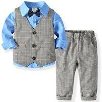 Костюмы для мальчиков; одежда для свадьбы; праздничная одежда в полоску; Детская жилетка; рубашка; брюки; детская верхняя одежда для мальчик...