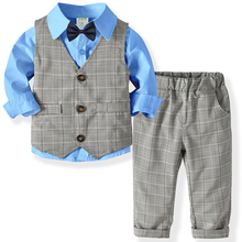 Boys Suits Clothes For Wedding Formal Party clothes Striped Baby Vest Shirt Pant