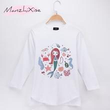 2019 New Product Kids Clothes Girl T-shirt Mermaid Cartoon Print 100% Cotton Full Children Long Sleeve T Shirts Baby Tops Tees