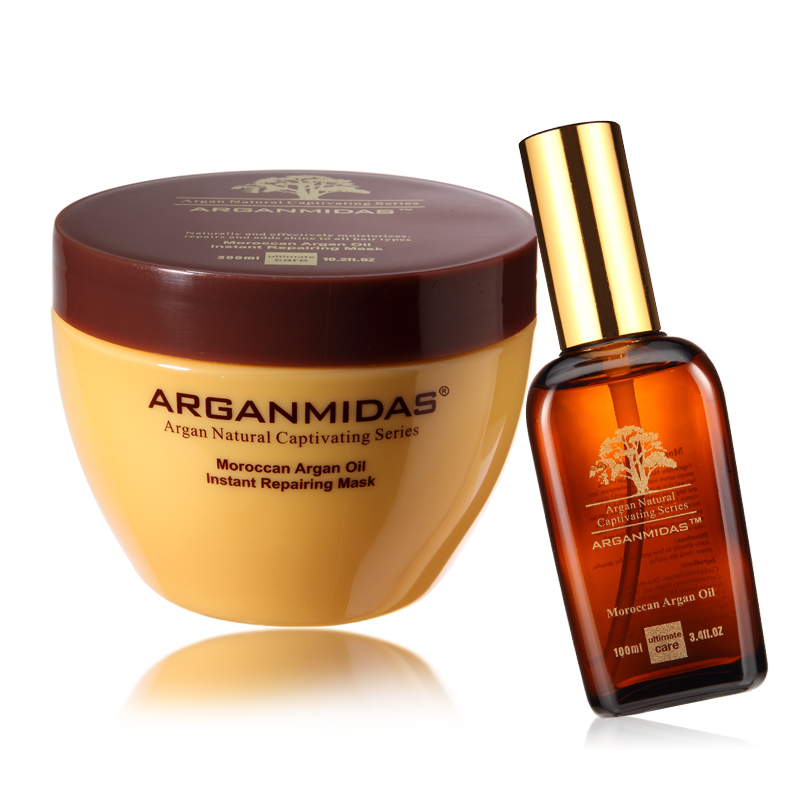 Arganmidas Set ARGAN OIL Hair Mask+Moroccan ARGAN OIL Deep Moisturizing Repair and Care for Damage Hair Free Shipping deoproce argan therapy hair essence