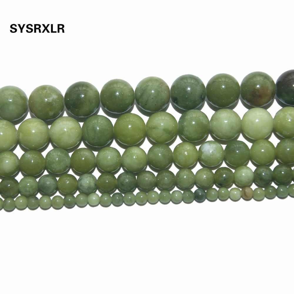 Gratis Pengiriman Cina Jadee Chalcedony Hijau Alami Batu Beads untuk Perhiasan Membuat DIY Gelang Kalung 4 6 8 10 12 MM Strand