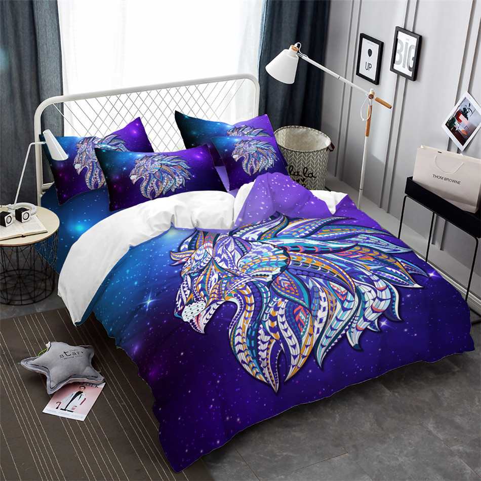 Dreamlike Lion Print Bedding Set White Purple Duvet Cover Colorful Animal Head Print Bed Cover Galaxy Bedclothes Pillowcase Bedding Sets     -