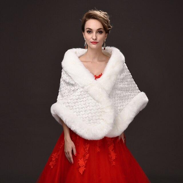 PJ0007 2016 Korean winter hot money bride women fur shawl long thick flower bridesmaid dresses faux fur shawl