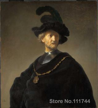 a9979f393194 Arte famoso viejo hombre con una cadena de oro Rembrandt van Rijn pintura  alta calidad pintado a mano