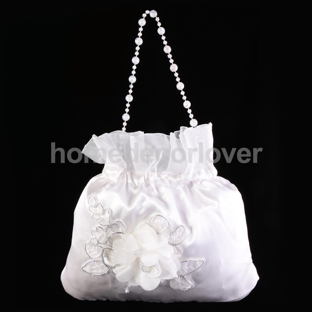 5898f4b7889c 2016 New White Satin Pearl Bridal Bridesmaid Wedding Flower Girl Dolly Bag  Prom Pouch Handbag