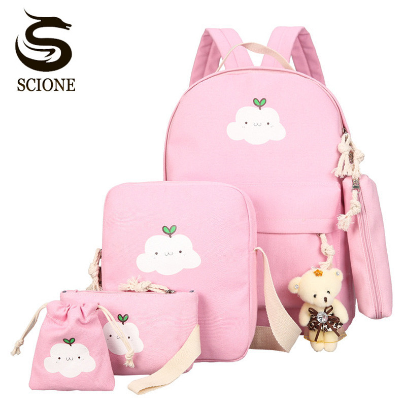 Scione Cute Printing Women Backpack Set Canvas Preppy School Bags for Teenage Girls Laptop Bagpack Women Student Backpack SetsScione Cute Printing Women Backpack Set Canvas Preppy School Bags for Teenage Girls Laptop Bagpack Women Student Backpack Sets