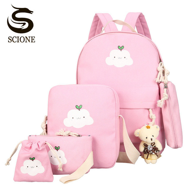 Scione Cute Printing Women Backpack Set Canvas Preppy School Bags for Teenage  Girls Laptop Bagpack Women Student Backpack Sets bda5f4ef7065c