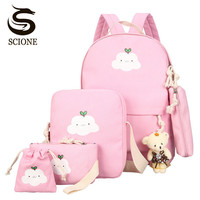 Scione Cute Printing Women Backpack Set Canvas Preppy School Bags for Teenage Girls Laptop Bagpack Women Student Backpack Sets