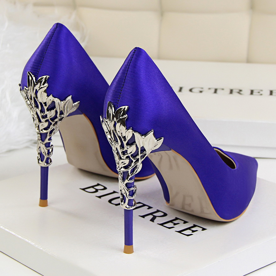 Elegant Metal Carved Heels Women Pumps 2019 High Quality Fashion Sexy Silk High Heels 13 Color 10cm Shoes Woman Wedding Shoes(China)