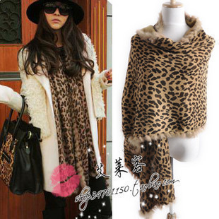 Freeshipping Fashion star style winter thermal fashion leopard print rabbit fur women's scarf cape