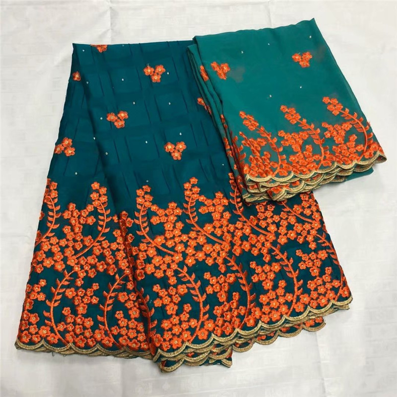 HFX High Quality African Fabric Teal/Orange Embroidered Nigerian Lace Teal/Orange Bazin Riche Getzner for Party Dresses L207-2HFX High Quality African Fabric Teal/Orange Embroidered Nigerian Lace Teal/Orange Bazin Riche Getzner for Party Dresses L207-2