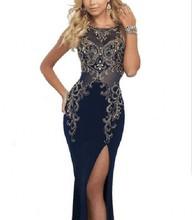 Marineblau Mantel Frau Abendkleid Sexy Bodenlangen Seite Schlitzte Abendgesellschaft Kleider Charming Handgemacht Sicken Formale Kleid
