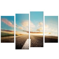 4 Pcs Set Landscape Wall Art Poster Highway Colorful Clouds Mountains Canvas Painting For Living Room