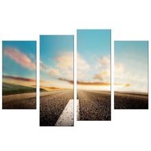 4 Pcs/Set Landscape Wall Art Poster Highway Colorful Clouds Mountains Canvas Painting for Living Room Pictures