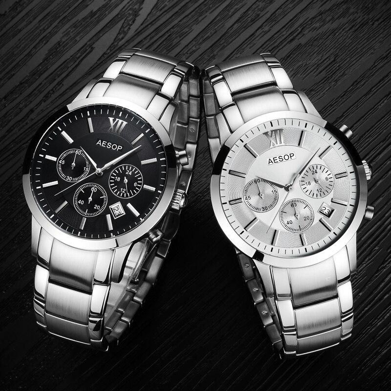 AESOP saphir cristal montre hommes Sport Quartz chronomètre montre-bracelet automatique Date cuir mâle horloge Relogio Masculino Hodinky nouveau 46 - 2