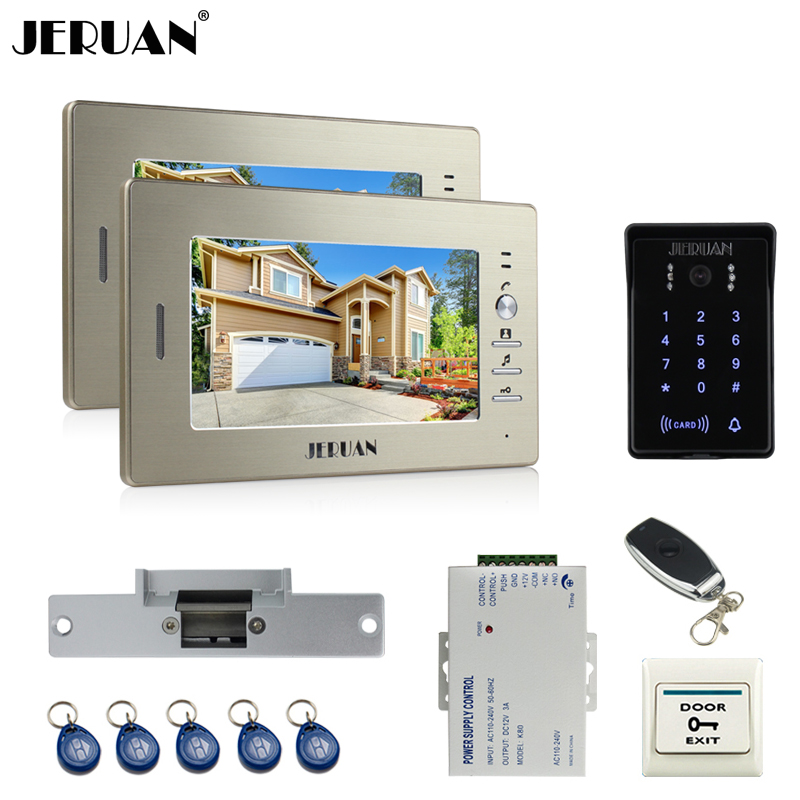 JERUAN 7`` LCD video doorphone intercom system 2 monitor RFID waterproof Touch Key password keypad camera+remote control unlock rfid keyboard ip65 waterproof video doorphone intercom system for 3 apartments with 7 color lcd video intercom system in stock