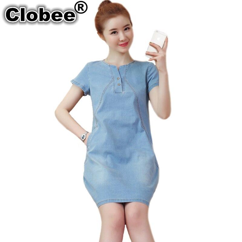 Detail Feedback Questions about Office Plus Size Denim Dress Women Short  Sleeve Vintage Summer Dress Vestidos Female Slim V neck Office T Shirt  Jeans Dress ... 664eb2dfa89c