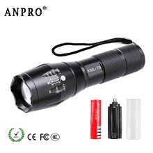 Anpro مصباح ليد جيب XML T6 Linterna الشعلة التخييم في الهواء الطلق قوية صغيرة قابلة للشحن مصباح يدوي ليد للتكبير مصباح ليد جيب 18650 AAA البطارية