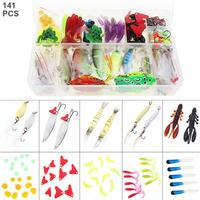 141pcs/lot Fishing Lures Kit Mixed Hard Lures Soft Baits Minnow Crank Popper VIB Sequins Wobbler Frog Lure with Box