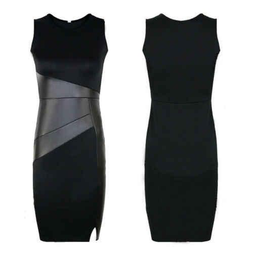 Stijlvolle Hot Koop Vrouwen Hoge taille Mouwloze PU Stiksels Slim Potlood Korte Vest-Jurk Lady Summer Casual Comfortabele jurk S-XL