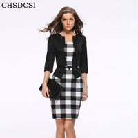 2015 Women New Fashion Autumn Spring Style Faux Two Piece Elegant Plaid Long Sleeve Pencil Dresses