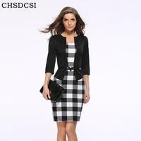 2015 Women New Fashion Autumn Spring Style Faux Two Piece Elegant Plaid Long Sleeve Pencil Dresses
