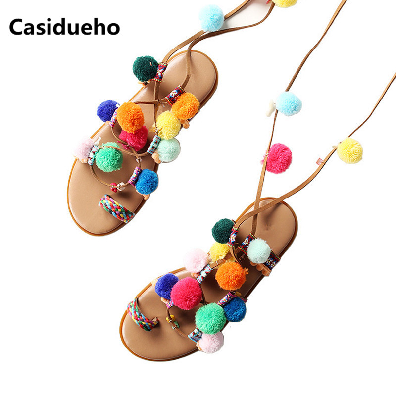 Casidueho Lace Up Women Sandals Colorful Ball Slippers Fashion Flats Casual Shoes Woman Cross Tied Flip Flops Summer Sandals New